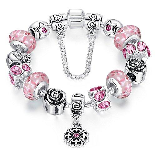 A TE® Bracciale Charms Vetro Beads Cristalli Catena di Sicurezza #JW-B170 (Rosa-18cm)…