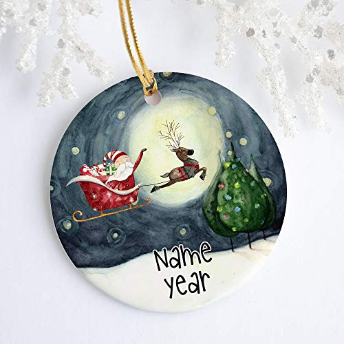 Flying Santa Ceramic Ornament Porcelain Holiday Ornament Christmas Custom Ornament Reindeer Santa Claus Personalized with Name and Year 3' Ceramic Ornament