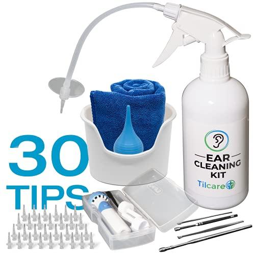 Outil nettoyant d'oreille avec aspirateur nettoyant auriculaire de Tilcare - Système de rinçage - Comprend aussi cuvette, seringue à ampoule, trousse de curette, serviette et 30 embouts jetables