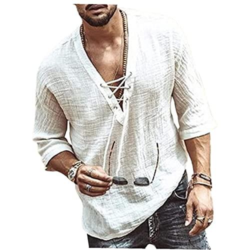 Sanfiyya para Hombre de algodón de Lino Camiseta Casual 3/4 Beach Hippie Yoga Tees Llano con cordón Cordones de la Parte Superior de Verano