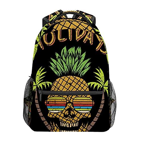 Divertida mochila de verano con diseño de calavera de piña para el colegio, viajes, senderismo, moda portátil, para mujeres, hombres, adolescentes, informales, escolares, lona