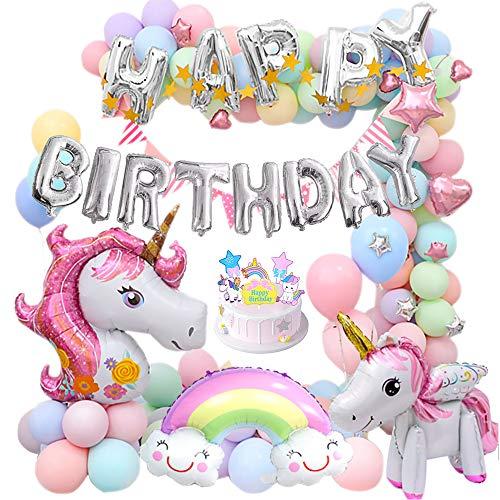 MMTX Einhorn Party Mädchen Geburtstagsdeko Luftballons mit 3D Einhorn Ballon Cake Topper Regenbogen Macaron Luftballon Dreieck Banner Kindergeburtstag für Dame Mädchen Geburtstags Festival Dekoration
