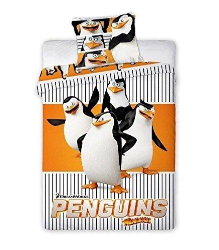Los Pingüinos de Madagascar–Juego 100% algodón Ropa de Cama Reversible Funda de edredón de 160x 200+ Funda de Almohada 70x 80Idea Déco