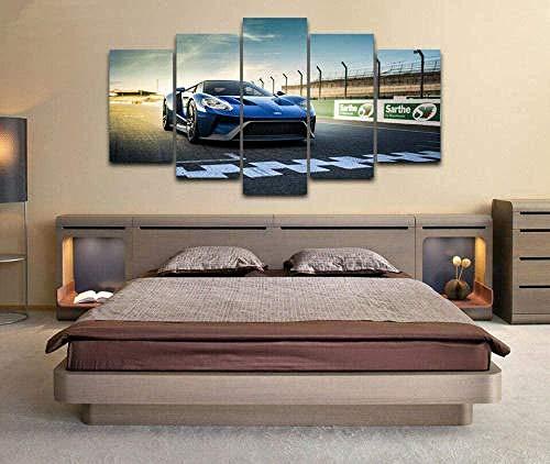 BHJIO Impresiones En Lienzo 5 Piezas Pista De Carreras De For GT Super Car Poster HD En Lienzo Modular Modern Interior Decorations Wall Art-Tamaño Regalo 150 * 80Cm.