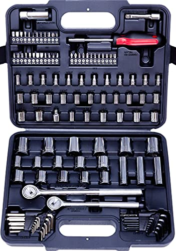 MECHMAX Socket Set 1/2 , 3/8 and 1/4 in Drive SAE & Metric Size, 120 Piece with Tool Box Storage Case for Home, Household, Garage, Car Trunk, Mechanic Projects and Bike Repair