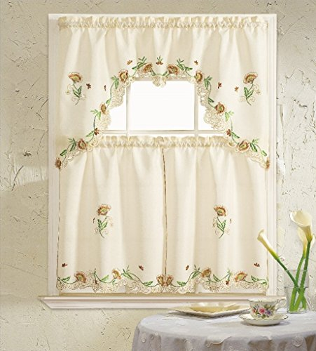 B&H Home Cosmo Floral Embroidered 3-Piece Kitchen Curtain Window Treatment Set (Beige)