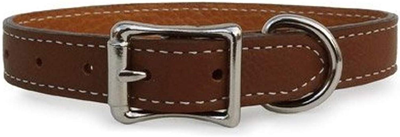 Luxury Italian Leather Tuscany Dog Collar  Brown  10