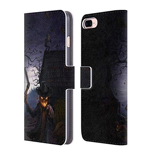 Head Case Designs Licenciado Oficialmente Christos Karapanos Calabazas malvadas Horror 3 Carcasa de Cuero Tipo Libro Compatible con Apple iPhone 7 Plus/iPhone 8 Plus