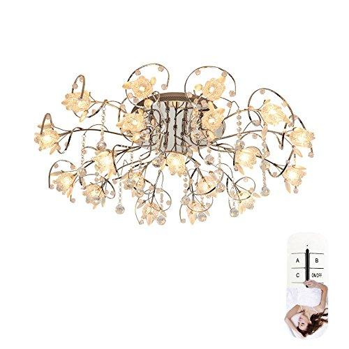 Estilo europeo creativo cromo flor forma de cristal luz de techo 19 luz LED americano simple moderno remoto atenuación candelabro cristalera