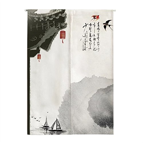 Oncefirst Linen Tapestry Curtain for Door Japanese Noren Doorway Curtain with Tension Rod Swallows 35.5''X59.1''