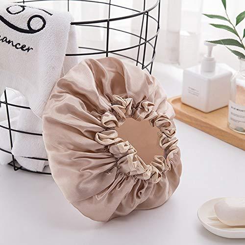 Stella Lot de 4 bonnets de douche imperméables pour femmes, filles et adolescentes, jeunes enfants, femmes, réutilisables à double couche avec doublure PE en tissu satiné