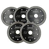 DT-DIATOOL Disco Tronzador Diamante 5 Piezas 115 mm x 22,23 mm/20 mm Hoja de Sierra con Malla Turbo para Corte de Porcelanico Azulejos Mármol Granito Cerámica