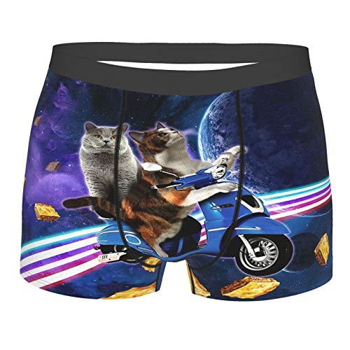 Calzoncillos tipo bóxer para hombre, diseño de gato y scooter de viaje con Space Lazer, galaxia, calzoncillos tipo bóxer con estampado 3D, para hombre y niño
