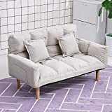 KaminHome - Sofá 2 plazas Rose tapizado Tela algodón Perezoso Simple Plegable Patas de Madera Tatami reclinable Dormitorio pequeño Descanso (Beige)
