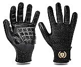 F FLLUFFY Fellpflege-Handschuhe für Katzen Pferde Hunde, 2er-Pack Fellpflege Handschuh - Bürste für Katze Pferd Hund - Schwarz - L