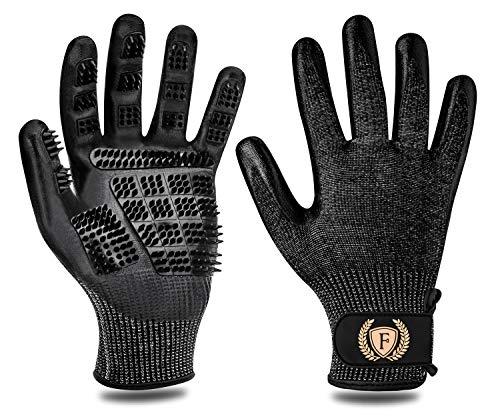 F® FLLUFFY Fellpflege-Handschuhe für Katzen Pferde Hunde, 2er-Pack Fellpflege Handschuh - Bürste für Katze Pferd Hund - Schwarz - L