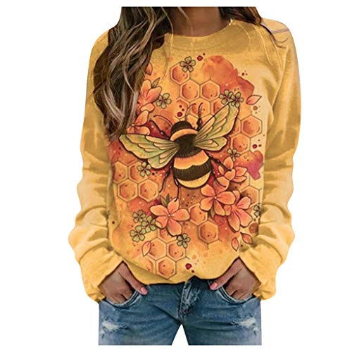 Sudadera Mujer sin Capucha Manga Larga Camisa de Talla Grande de Manga Larga con Estampado de Mariposas para Mujer Jersey Casual Blusa Primavera 2021