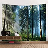 RAILONCH Wald Wandteppich Digitaldruck Tapestry Wandbehang Weiches Mikrofaser Stoff Throw Bedspread Queen Bed Dorm Décor (D,150x200cm)