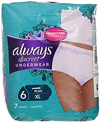 Always Discreet Panties for Incontinence, Urinary Leaks, Size XL, 6 - Set of 7 panties