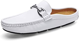 LFSP Mens Penny Loafers Boat Shoes Driving Loafer for Men Boat Moccasins Slip On Style OX Leather Metaldecor Convenience Half Dragged A (Color : White, Size : 43 EU)