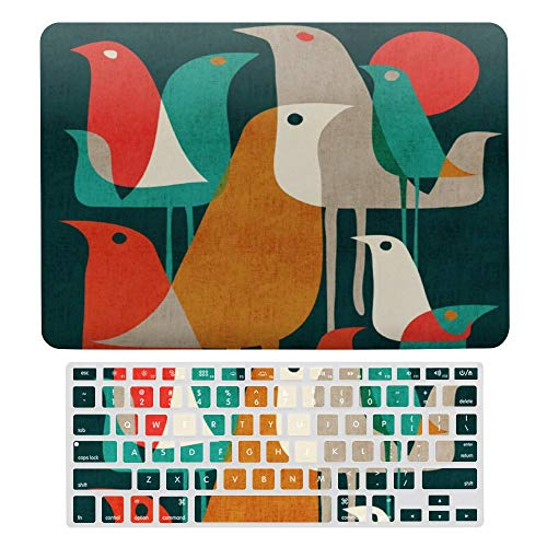 Plastic Hard Shell Case & Keyboard Cover Compatible for MacBook Air 13 Screen Protector & Keyboard Protector for New Pro 13 Touch, Flock of Birds