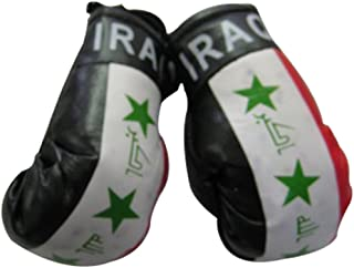 Flag Mini Small Boxing Gloves to Hang Over Car Automobile Mirror – Asia & Africa (1-Pack, Country: Iraq)