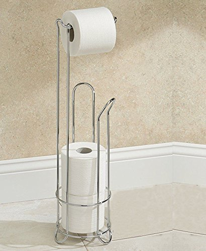 Stainless Steel Chrome Wire Frame Free Standing Bathroom Toilet Paper Roll Holder with 3 Rolls Storage by Crystals