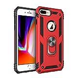 BestST Funda iPhone 6/7/ 8 Plus con Anillo Soporte,+ HD Protectores de Pantalla,2in1 Dura PC + Suave TPU Silicona Carcasa Híbrido Armadura Bumper Case Cover para Apple iPhone 6/7/ 8 Plus -Rojo