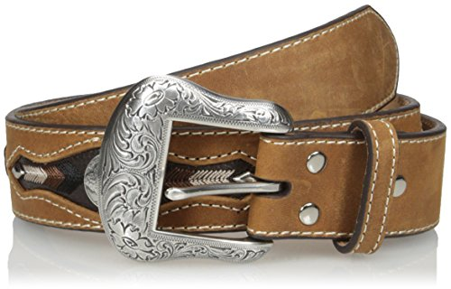 Nocona Belt Co. Men's Buffalo Concho Inlay, Medium Brown, 36