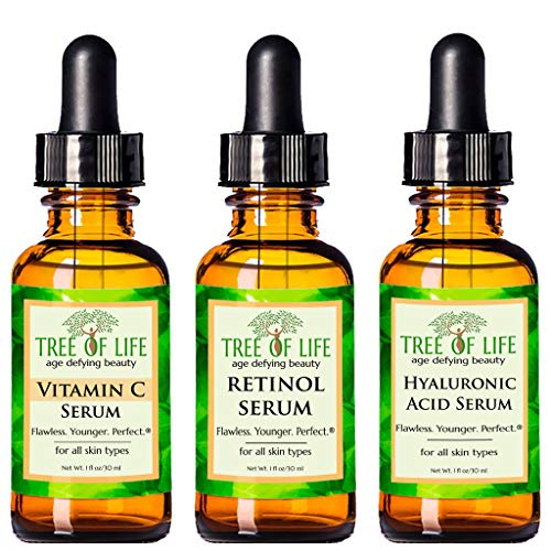 Anti Aging Serum 3-Pack for Face - Vitamin C Serum, Retinol Serum, Hyaluronic Acid Serum - Face...