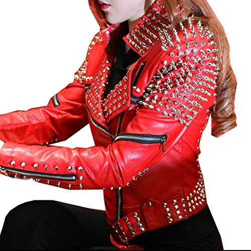 Hzikk Chaqueta De Cuero Rojo De Cuero De Las Mujeres del Punk Remaches Tachonado De La Motocicleta con Pinchos Chaquetas De Cuero,Rojo,L