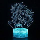 3D Lámpara óptico Illusions Luz Nocturna, CKW 7 Colores Cambio de Botón Táctil y Cable USB para Cumpleaños, Navidad Regalos de Mujer Bebes Hombre Niños Amigas (Dragon ball 9)