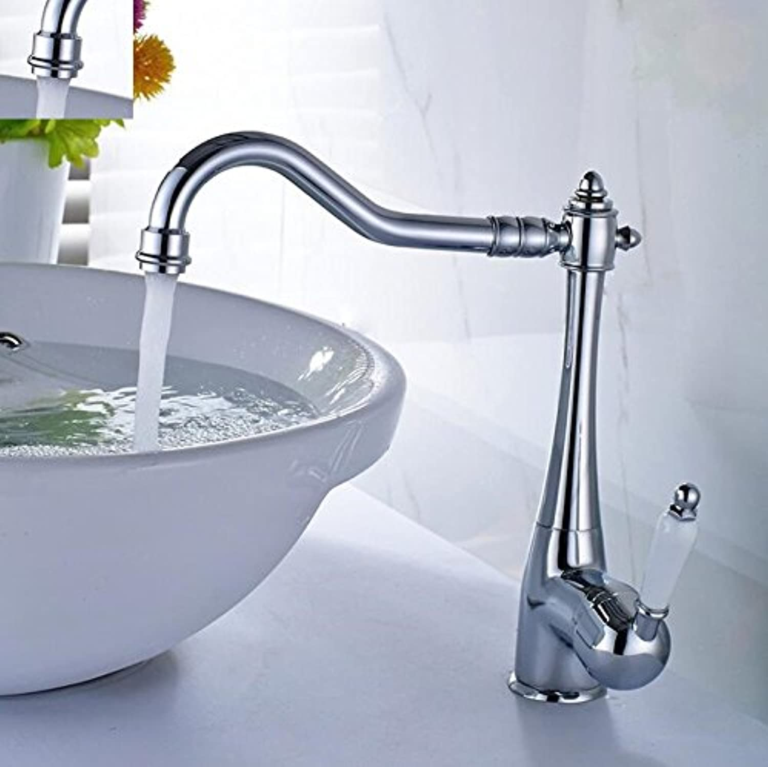 Aawang Euro Basin Faucet Sink Faucet Brushed Nickel Cold Hot Porcelain Holder 360 Degree Swivel Bathroom Wash Basin Faucet Tap,Chrome