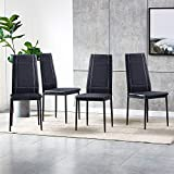 High Back Dining Chairs Set of 4, Faux Leather Dining Room Chairs for Kitchen, Lounge, Living Room with Black Metal Legs, 4 Pieces Checker Dinner Chairs Side Chairs, Black Tartan