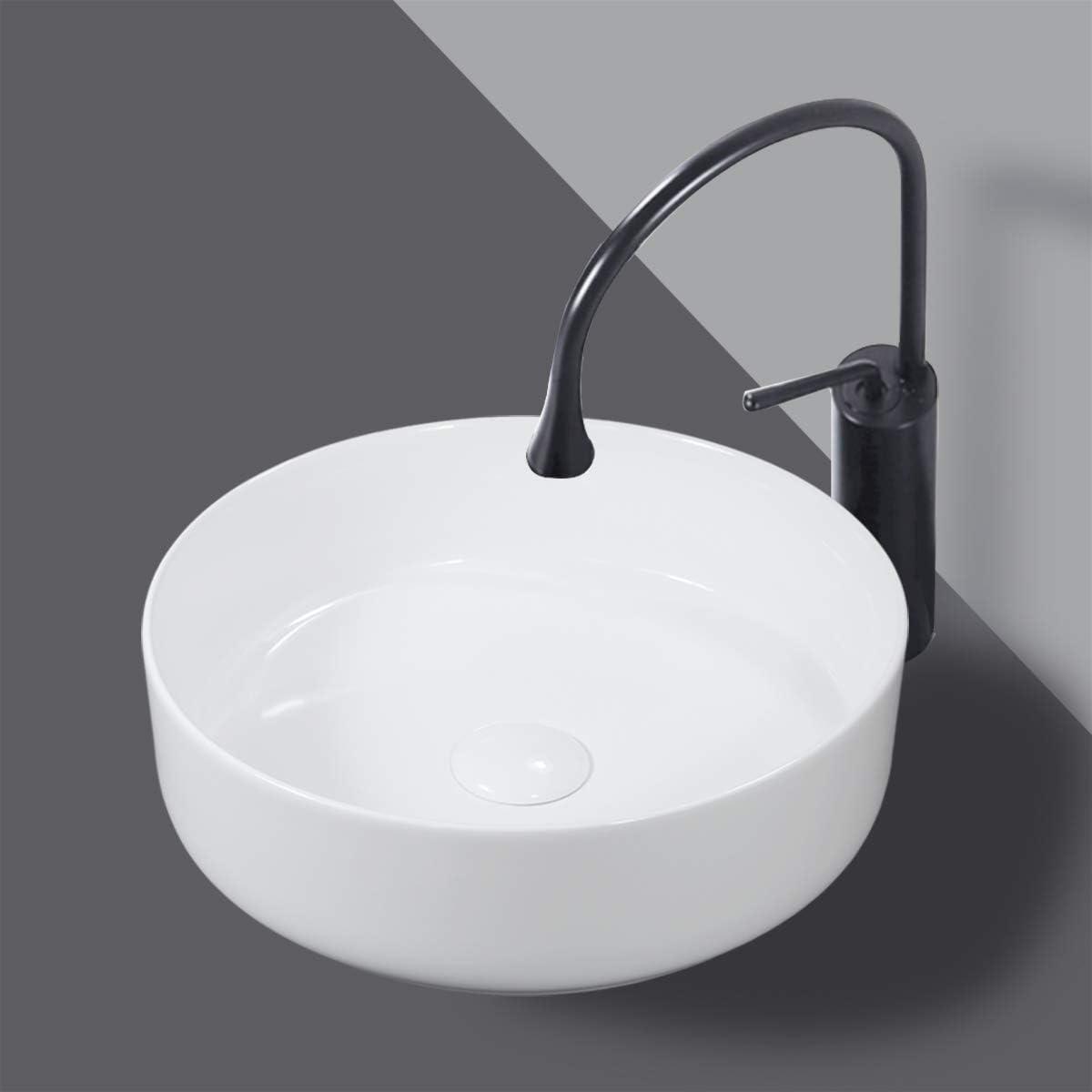 Winzo Small Round Bathroom Vessel Sink Thin Modern Design Cabinet Vanity Top Basin Ceramic White Wz6176 Amazon Com