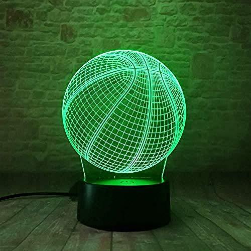 Lámpara 3D Pelota de baloncesto para niños Decoración de dormitorio Regalo de cumpleaños fresco para niño 3D Ilusión Holograma Led Bebé