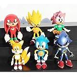 FENGHE Sonic Figures Juguete Nuevo 6 Piezas Anime Super Sonic The Hedgehog PVC Figuras de acción Toy Loose Set 6cm Amy Tails Mephiles Knuckles Brinquedos