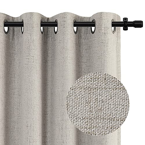 """100% Blackout Curtain Linen Textured Look Grommet Blackout Curtains 84 Inch Length Thermal Insulated Curtains Drapes for Bedroom/Living Room Set of 2 Panels, 50"""" x 84"""", Beige"""