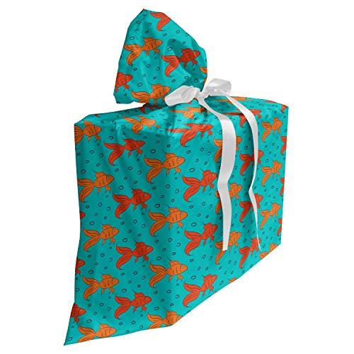 ABAKUHAUS Goudvis Cadeautas voor Baby Shower Feestje, Cartoon Aquarium Fishes, Herbruikbare Stoffen Tas met 3 Linten, 70 cm x 80 cm, teal Oranje