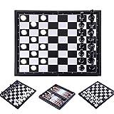 Juego de ajedrez magnético 3 en 1 de 32 cm x 32 cm con ajedrez magnético con ajedrez, dama, Backgammon para niños y adultos, juego de ajedrez de viaje magnético Kit de ajedrez plegable portátil