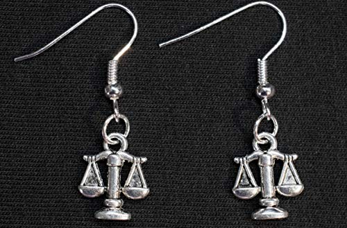 Miniblings Waage Ohrringe Hänger Justiz Jura Sternzeichen Horoskop Metall silber - Handmade Modeschmuck I Ohrhänger Ohrschmuck versilbert