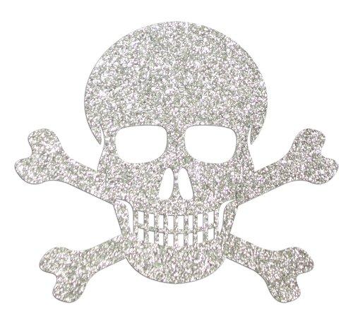 Glitzer-Totenkopf, Knochen, 15,2cm, Aufnäher zum Aufbügeln silber