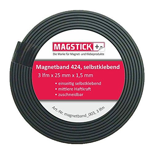 easydruck24de 3 Meter Magnetband breit selbstklebend Magstick® 424 I Magnet-Klebeband zuschneidbar für Haushalt Büro Steelbook Stanzschablonen I mag_132