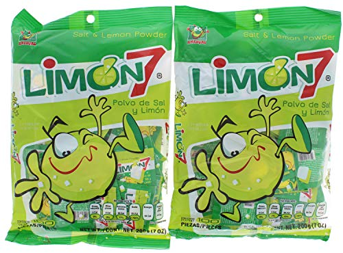 2 Pk. Limon 7 Salt & Lemon Powder Mexican Candy 100 Pieces (200 Pieces Total)