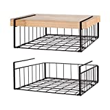 SimpleTrending Under Cabinet Organizer Shelf, 2 Pack Wire Rack Hanging Storage Baskets for Kitchen Pantry,Bronze