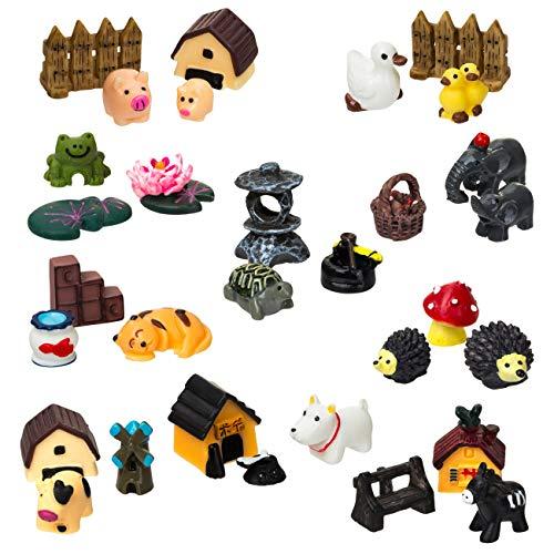 LIHAO 30 Piezas Modelos de Mini Animales en Miniatura Accesorios de Hadas de Jardín Adornos para DIY Planta Decoración