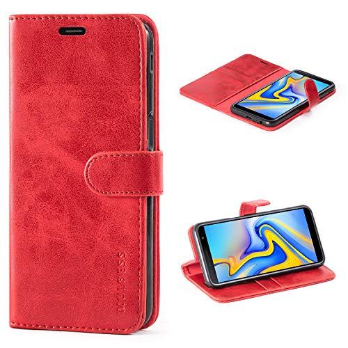 Mulbess Cover per Samsung Galaxy J6 Plus, Custodia Pelle con Magnetica per Samsung Galaxy J6 Plus / J6+ [Vinatge Case], Vino Rosso