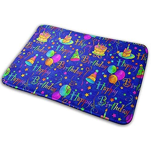 Annays tapijt antislip dikte Happy Birthday blauw cake deurmat waterabsorberende badmat machinewasbare badmatten 40 x 60 cm