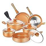 KUTIME 11pcs Cookware Set, Pots and Pans Set, Non-stick Frying Pan Set Copper Ceramic Coating Stock Pot, Sauce Pans, Deep Saute Pan with Lid, Gas, Induction Compatible