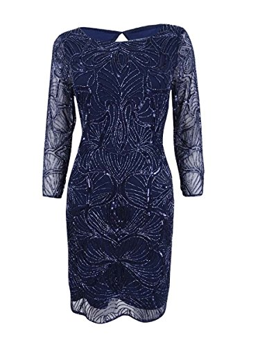 Adrianna Papell Women's 3/4 Sleeve Fully Beaded Cocktail Dress with High Neckline, Navy, 6 (Apparel)